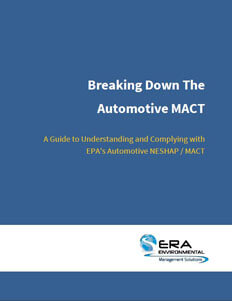 Breaking Down the Automotive NESHAP/MACT.
